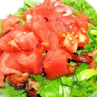 ほうれん草とベーコンのサラダ☆トマト乗せ