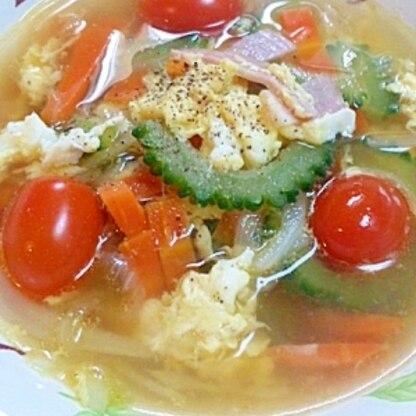 具沢山☆ゴーヤ入り野菜スープ