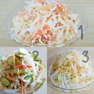白菜使い切り。白菜おつまみサラダ3種