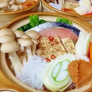 鮭切り身の ひとり土手鍋