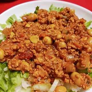 鶏ミンチと大豆でヘルシータコライス☆