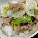 豚バラキャベツの塩炒め丼