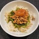 余ったご飯がこんなに美味しい!うめかぶ納豆丼♡