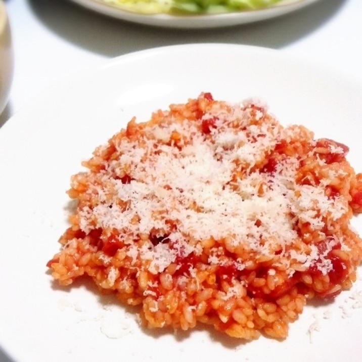 少ない材料で♡生米とトマト缶のあっさりリゾット♡