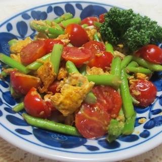 簡単♪アスパラとプチトマトの卵炒め