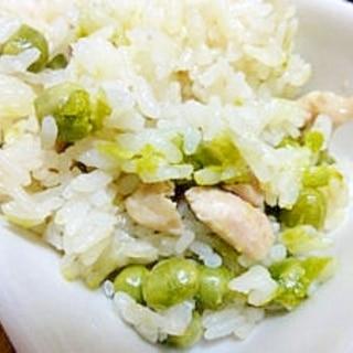 グリーンピースと鶏肉の炊き込みピラフ