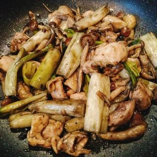 エバラ 鶏炭焼きのタレ使用♪鶏肉とネギの炒め物