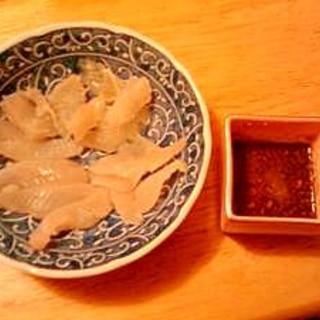 カサゴとカワハギの刺身 肝醤油で