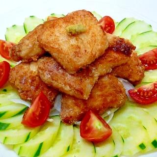 フライパンで鶏胸肉の唐揚げ きざみわさび添え