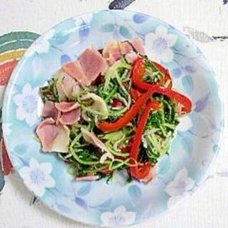 油を使わず、水菜とベーコンの炒め物