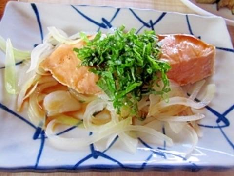 簡単に~甘塩鮭のさっと煮ポン酢かけ
