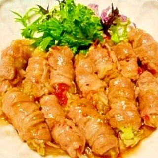 レンジでトロ~リ☆キャベツの豚肉巻き