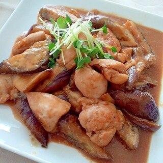 鶏ムネとなすのニンニク味噌炒め