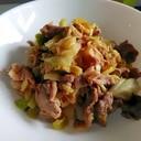 豚丼とキャベツの甘味噌炒め