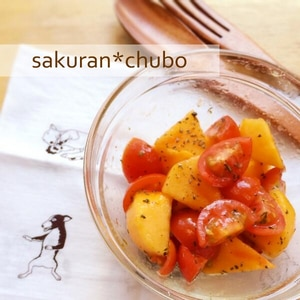 白ワインにぴったり★柿とプチトマトのマリネ。