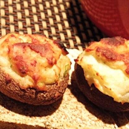 トースターで簡単、椎茸のはんぺん詰め焼き