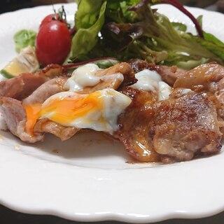 豚の生姜焼き(半熟卵のせ)