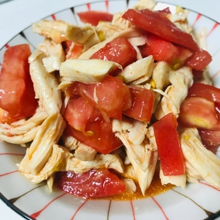 簡単副菜!トマトと鶏ささみのピリ辛中華和え♫
