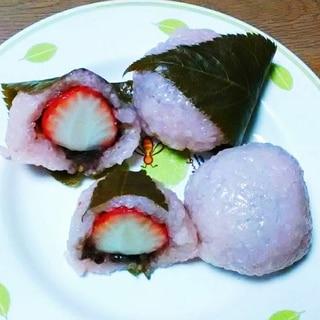 苺入り桜餅風おはぎ