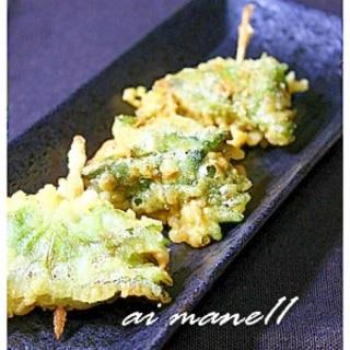 秋刀魚とチーズくるくる大葉巻き天ぷら