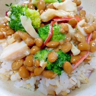 納豆の食べ方-チキン&ブロッコリー♪