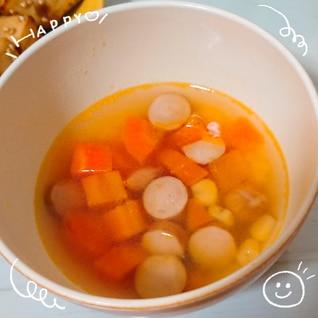 ニンジンとコーンとウインナーの洋風スープ