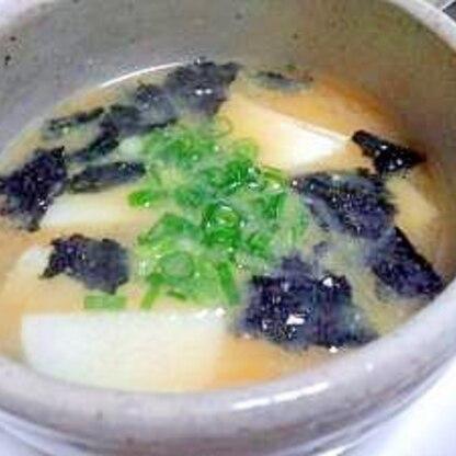 長いもと焼き海苔のお味噌汁