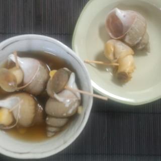 しょうが風味、ばい貝の酒蒸し