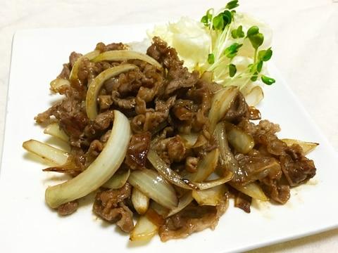 簡単ご飯が進む♪牛バラ肉と玉ねぎの焼肉たれ炒め♡