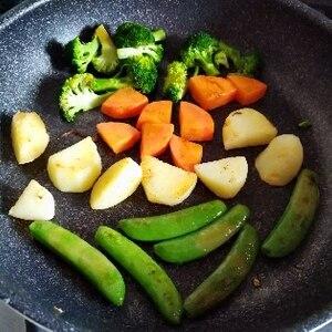 ハンバーグの付け合せに! 「3種野菜のバター焼き」