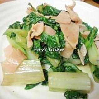 うまい菜とハムのマスタードしょうゆ炒め