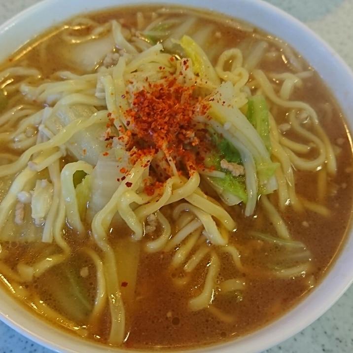 マルちゃん正麺味噌味でピリ辛豆板醤入りラーメン