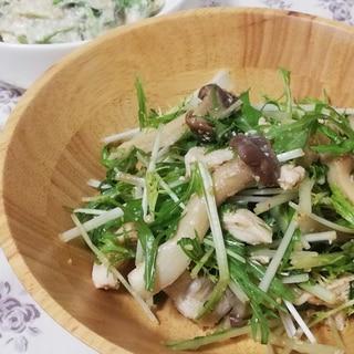 水菜とキノコの中華風チキンサラダ