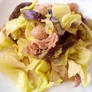 豚バラ肉とナスとキャベツのオイスターソース炒め