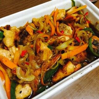 野菜たっぷり鮭の南蛮漬け