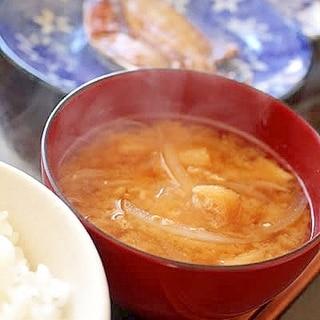 玉ねぎと油揚げの味噌汁*出汁なし