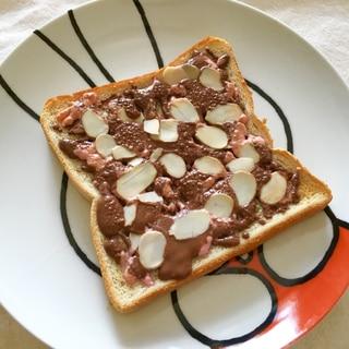 あっさりショコラ♪苺チョコアーモンドトースト♡