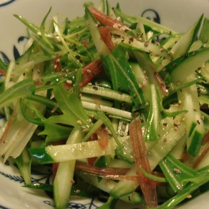 胡瓜&水菜&茗荷のイタリアン風和え物