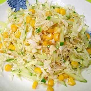 千切りキャベツときゅうりコーンの和風サラダ