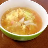 キャベツとカニカマと卵のスープ
