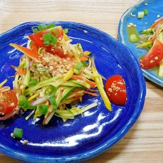 タイの青パパイヤサラダ、ソムタムをズッキーニで!!