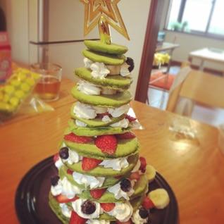 クリスマスに☆小松菜でパンケーキツリー