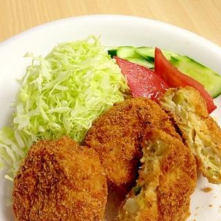 鶏ミンチのメンチカツ☆キャベツたぁ〜ぷり☆