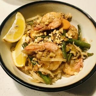 海老のパットタイ(パッタイ)★夫が作る晩ご飯