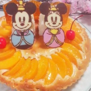 ひな祭り*ミッキー&ミニーのピーチケーキ