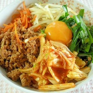 キムチとひき肉と野菜の簡単ビビンバ