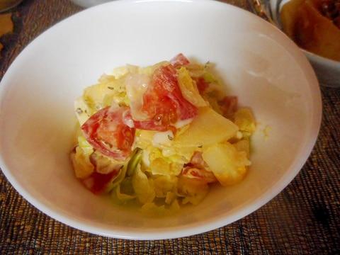 ジャガイモ、キャベツ、プチトマトのマヨサラダ