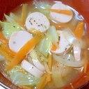 魚肉ソーセージと野菜の和風しょうがスープ