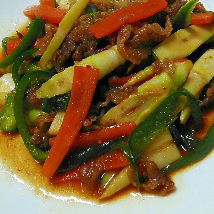 シャキシャキおいしい根曲がり竹と牛肉炒め