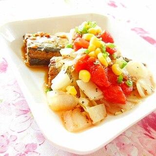 ❤サンマ甘露煮とトマト缶とバター玉葱のとりあえず❤